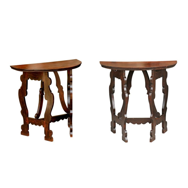 Pair of Italian Baroque Style Walnut Demilune Console Tables, circa 1870