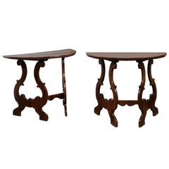 Pair of Italian Baroque Style Walnut Demilune Console Tables, Late 19th Century