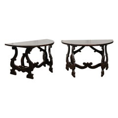 Pair of Italian Baroque Style Walnut Demilune Tables from Tuscany, circa 1800