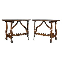 Pair of Italian Baroque Walnut Console Tables