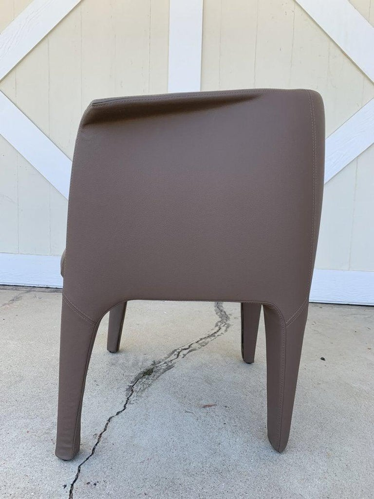 Modern Pair of Italian Barrel Chairs in Faux Leather For Sale