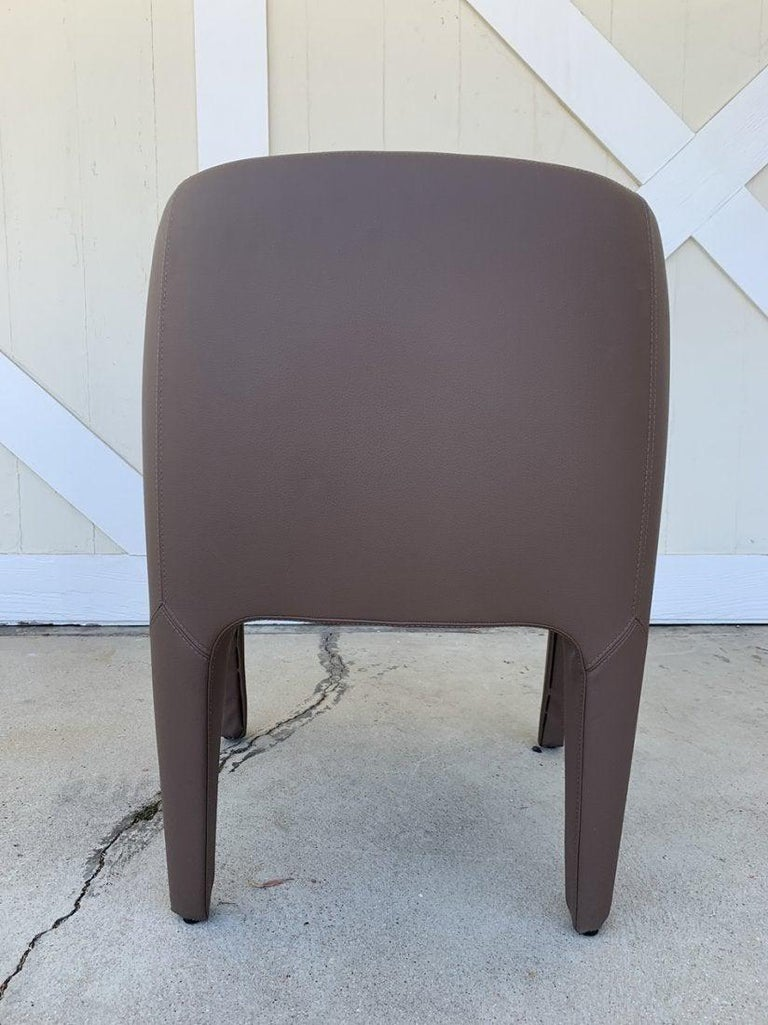 Pair of Italian Barrel Chairs in Faux Leather In Good Condition For Sale In Los Angeles, CA