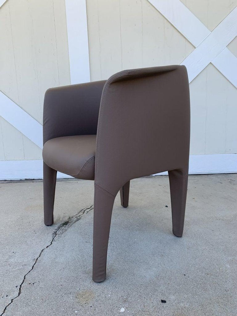 Contemporary Pair of Italian Barrel Chairs in Faux Leather For Sale
