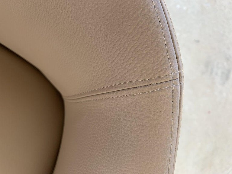 Metal Pair of Italian Barrel Chairs in Faux Leather For Sale