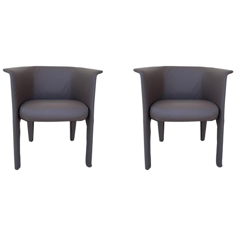 Pair of Italian Barrel Chairs in Faux Leather For Sale