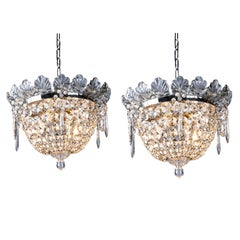 Pair of Italian Beaded Crystal Ceiling Fixtures Flush Mounted Plafonniers 1950
