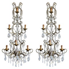 Pair of Italian Beaded Crystal Sconces in Antique Gold Frame, Italy