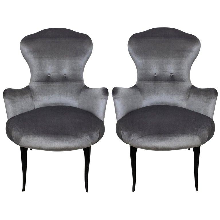 Pair of Italian Bedroom Chairs in Silver Velvet
