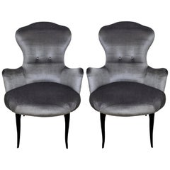 Pair of Italian Bedroom Chairs in Silver Velvet