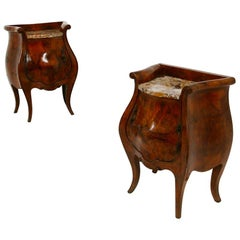 Pair of Italian Bedside Tables Curved in Briar and Marble