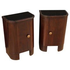 Pair of Italian Bedside Tables in Mahogany and Beech Wood, 20th Century