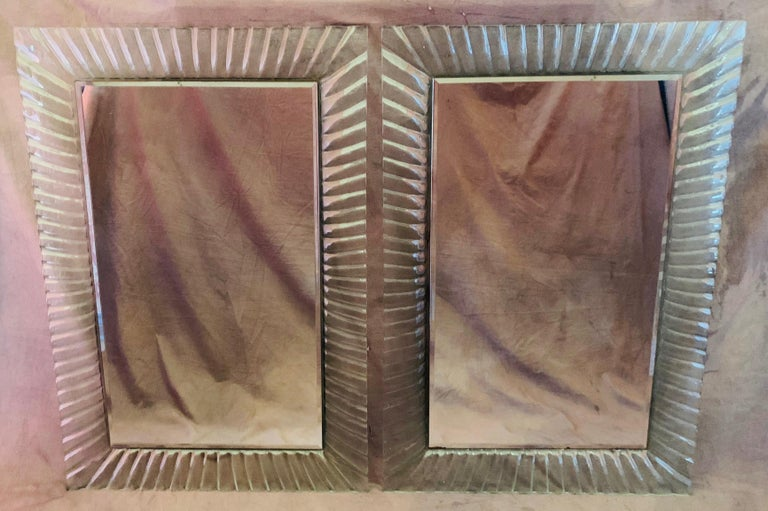 Mid-Century Modern Pair of Italian Beveled Mirrors Framed with Murano Style Art Glass For Sale