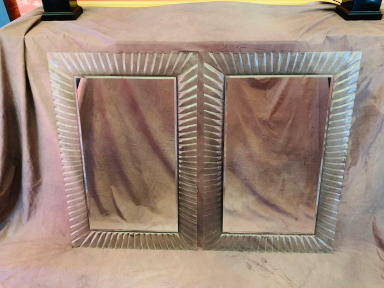Pair of Italian Beveled Mirrors Framed with Murano Style Art Glass In Good Condition For Sale In Los Angeles, CA