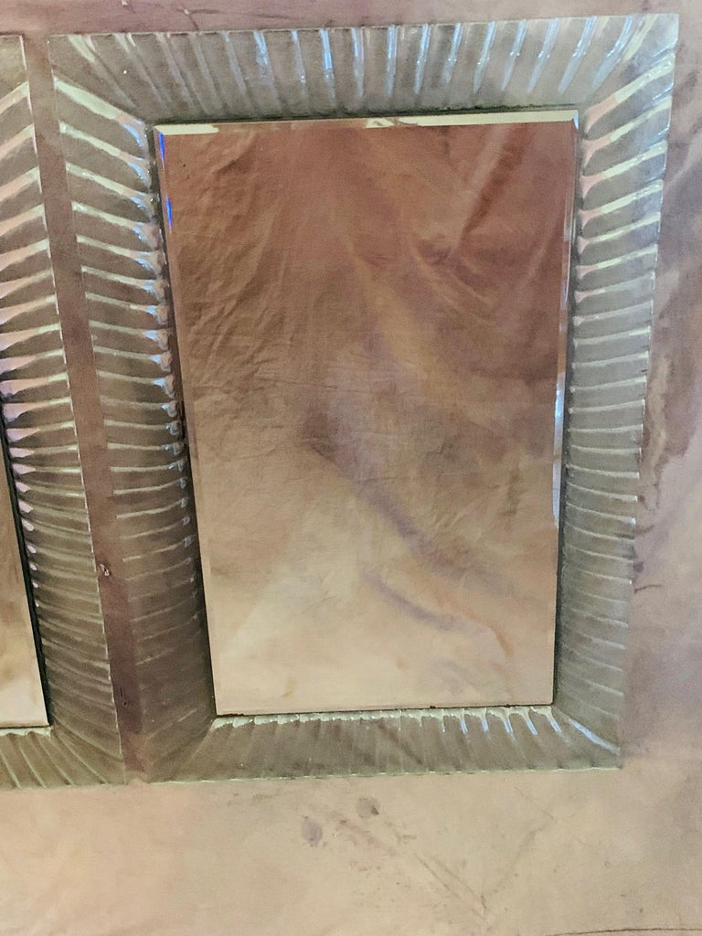 Pair of Italian Beveled Mirrors Framed with Murano Style Art Glass For Sale 1