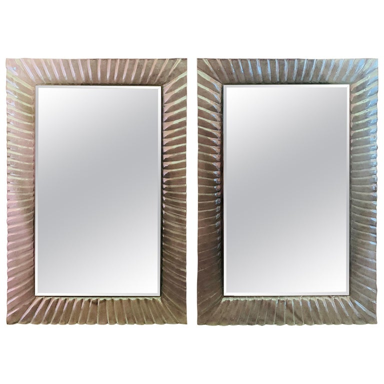 Pair Of Italian Beveled Mirrors Framed With Murano Style Art Glass At 1stdibs