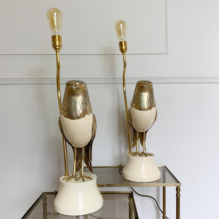 Pair of Italian Bird of Prey Table Lamps, 1960s In Good Condition For Sale In Hastings, GB