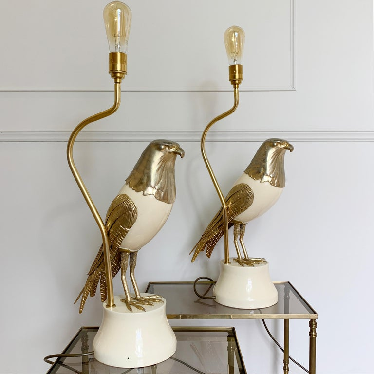 Metal Pair of Italian Bird of Prey Table Lamps, 1960s For Sale
