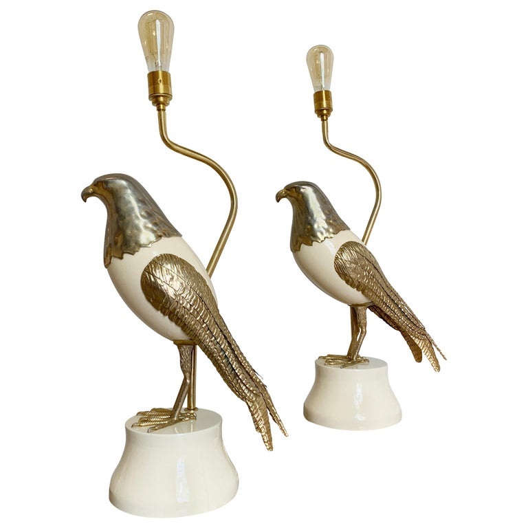 Pair of Italian Bird of Prey Table Lamps, 1960s For Sale