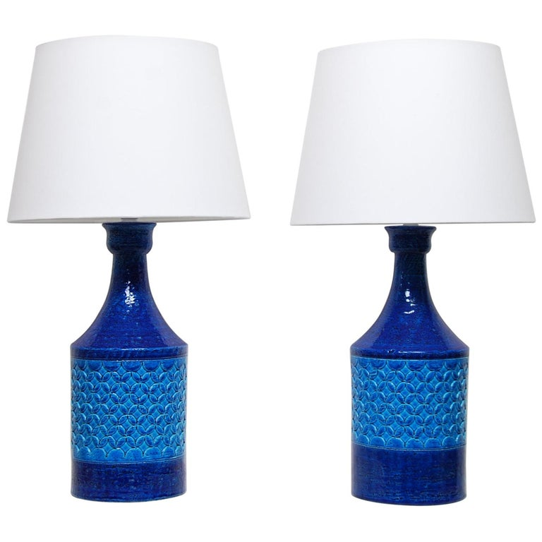 Pair of Italian Bitossi Classic Blue Chamotte Table Lamps For Sale