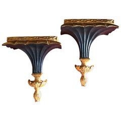 Pair of Italian Black and Gold Wall Shelves in Hollywood Regency Style