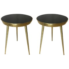 Pair of Italian Black Glass and Brass Accent Tables