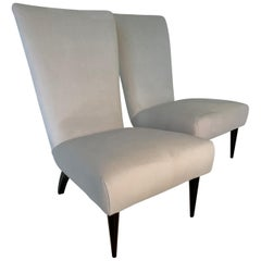 Pair of Italian Black Lacquered and White Velvet Armchairs, 1940s