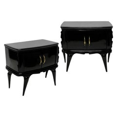 Pair of Italian Black Lacquered Midcentury Nightstands
