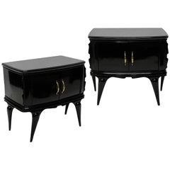 Pair of Italian Black Lacquered Midcentury Nightstands