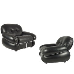 Pair of Italian Black Leather and Chromed Metal 1970s Cushioned Armchairs