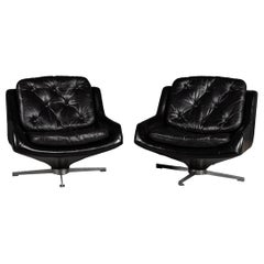 Pair of Italian Black Leather Lounge Chairs, circa 1970
