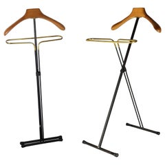 Pair of Italian Black Metal, Wood and Brass Folding Valet Stand, 1950s