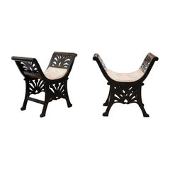 Pair of Italian Black Painted Saddle Seat Window Benches, Early 20th Century