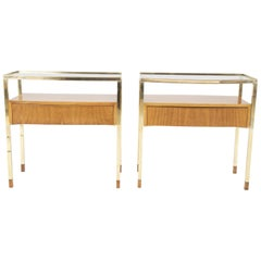 Pair of Italian Bleached Mahogany Glass Top Side Tables