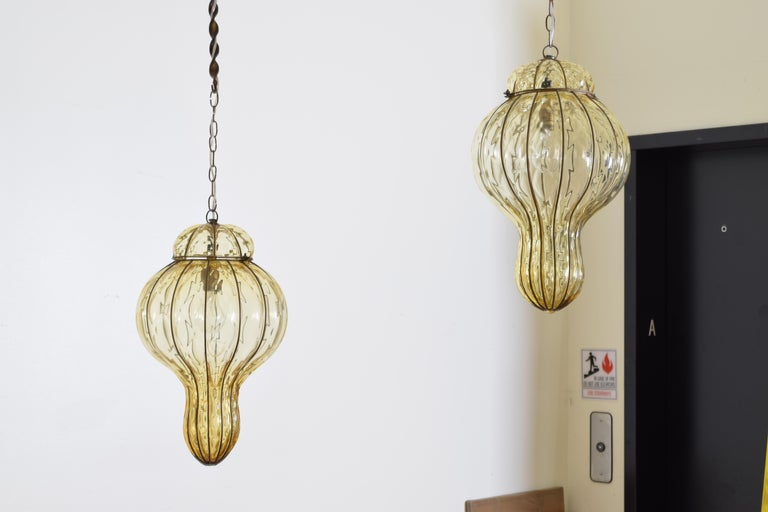 Mid-Century Modern Pair of Italian Blown Glass & Metal Hanging Lanterns, Mid-20th Century, UL Wired For Sale