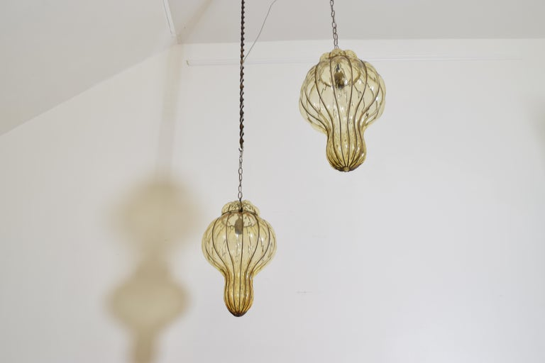 Pair of Italian Blown Glass & Metal Hanging Lanterns, Mid-20th Century, UL Wired In Excellent Condition For Sale In Atlanta, GA