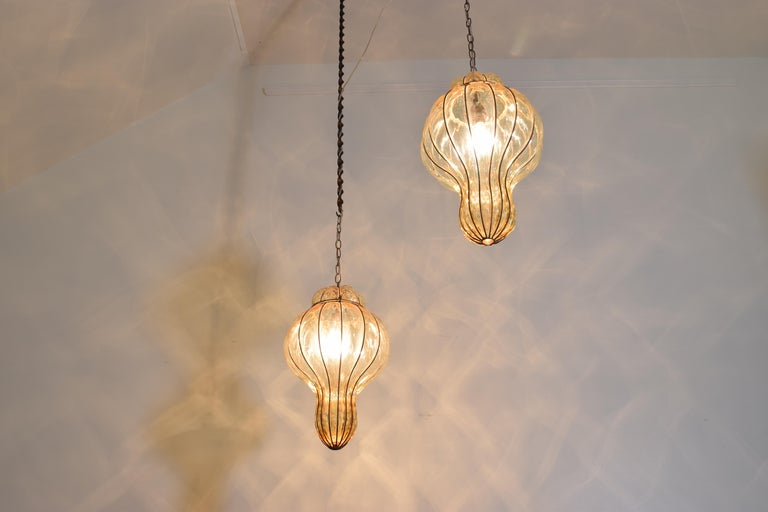 Pair of Italian Blown Glass & Metal Hanging Lanterns, Mid-20th Century, UL Wired For Sale 2