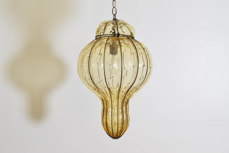 Pair of Italian Blown Glass & Metal Hanging Lanterns, Mid-20th Century, UL Wired For Sale 3