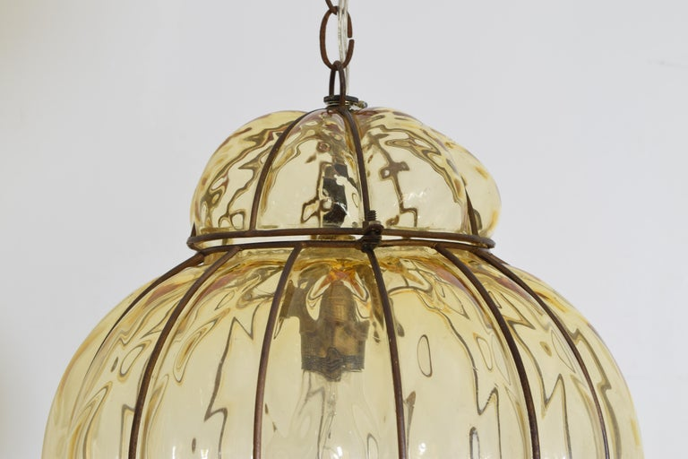 Pair of Italian Blown Glass & Metal Hanging Lanterns, Mid-20th Century, UL Wired For Sale 4