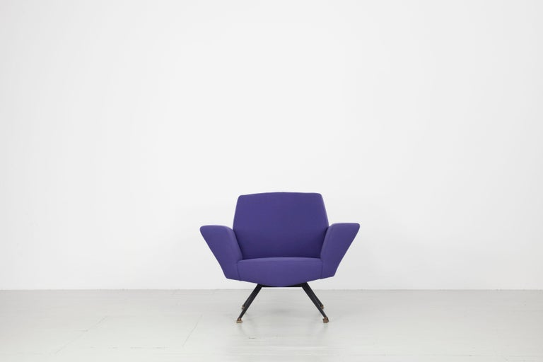 Pair of Italian Blue and Violet Armchairs by Lenzi, Studio Tecnico, Italy, 1950s For Sale 4