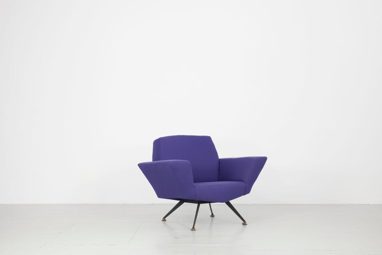 Pair of Italian Blue and Violet Armchairs by Lenzi, Studio Tecnico, Italy, 1950s For Sale 5