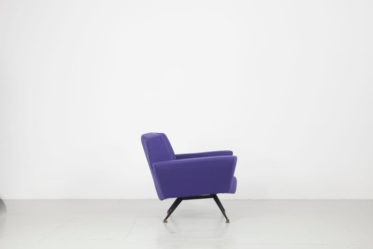 Pair of Italian Blue and Violet Armchairs by Lenzi, Studio Tecnico, Italy, 1950s For Sale 6