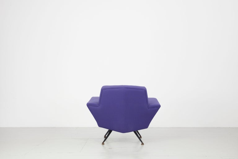 Pair of Italian Blue and Violet Armchairs by Lenzi, Studio Tecnico, Italy, 1950s For Sale 8