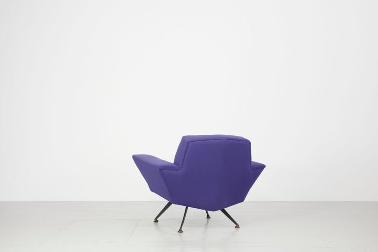 Pair of Italian Blue and Violet Armchairs by Lenzi, Studio Tecnico, Italy, 1950s For Sale 9