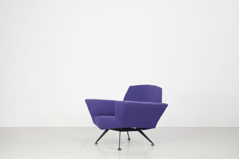 Pair of Italian Blue and Violet Armchairs by Lenzi, Studio Tecnico, Italy, 1950s For Sale 11