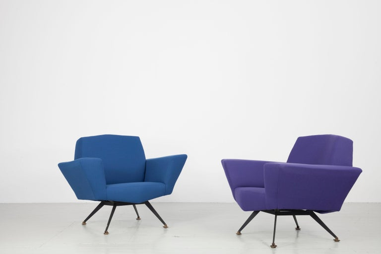 Pair of Italian Blue and Violet Armchairs by Lenzi, Studio Tecnico, Italy, 1950s For Sale 12