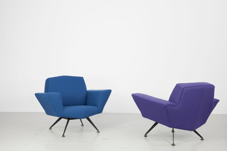 Pair of Italian Blue and Violet Armchairs by Lenzi, Studio Tecnico, Italy, 1950s For Sale 13