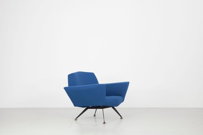 Mid-Century Modern Pair of Italian Blue and Violet Armchairs by Lenzi, Studio Tecnico, Italy, 1950s For Sale