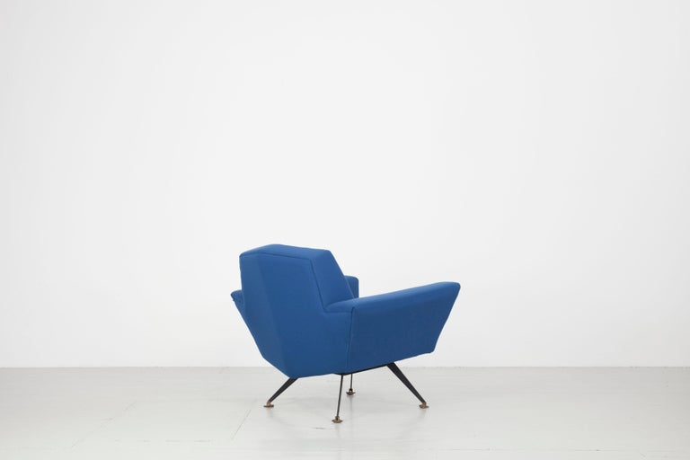 Mid-20th Century Pair of Italian Blue and Violet Armchairs by Lenzi, Studio Tecnico, Italy, 1950s For Sale