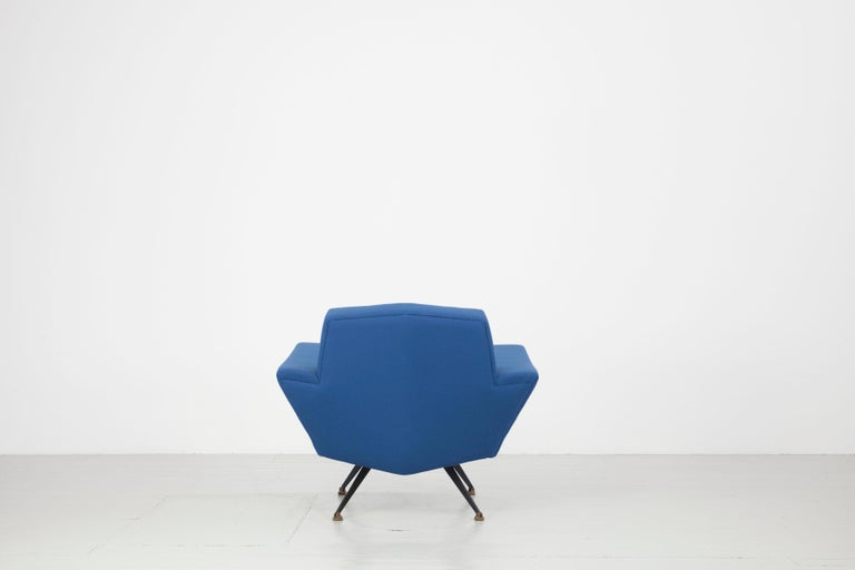 Brass Pair of Italian Blue and Violet Armchairs by Lenzi, Studio Tecnico, Italy, 1950s For Sale