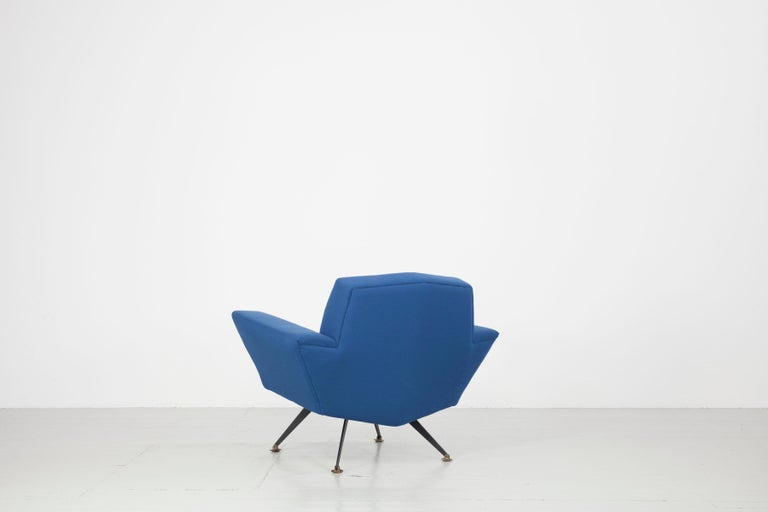 Pair of Italian Blue and Violet Armchairs by Lenzi, Studio Tecnico, Italy, 1950s For Sale 1
